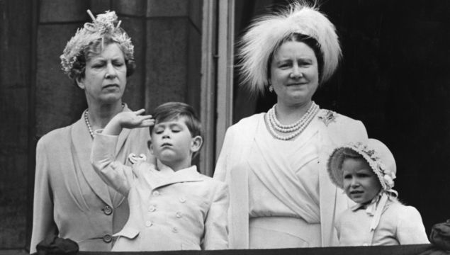 11th June 1953: Princess Mary the Princess Royal (left) with Queen Elizabeth the Queen Mother (1900 - 2002) and Prince Charles and Princess Anne on the balcony of Buckingham Palace.