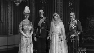1922: From left to right; Queen Mary, King George V, with their daughter Victoria Alexandra Alice Mary, the Princess Royal, and Viscount Lascelle, 6th Earl of Harewood, on their wedding day