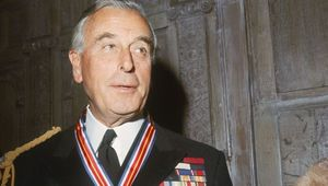 Lord Louis Mountbatten (1900 -1979) wearing the Veterans of Foreign Wars Merit Award, presented to him by the U.S. Veterans of Foreign Wars organization for outstanding service in World War II, circa 1965.