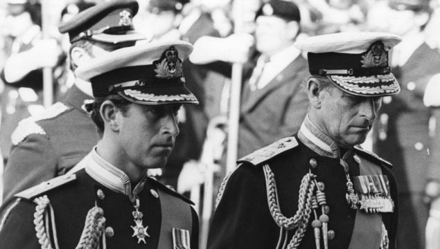 9th September 1979: Charles, Prince of Wales and Prince Philip, Duke of Edinburgh attending the funeral of Earl Louis Mountbatten (1900 - 1979) in full Naval regalia Photo by Fox Photos/Getty Images