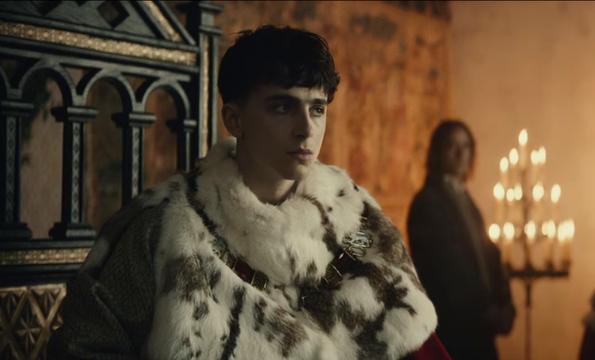 Timothée Chalamet as King Henry V in The King