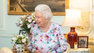 Queen Elizabeth II greets the new Dean of the Chapel Royal Right Reverend Dame Sarah Mullally, and outgoing Dean of the Chapel Royal the Right Reverend Lord Chartres during a private audience at Buckingham Palace on July 11, 2019 in London, England