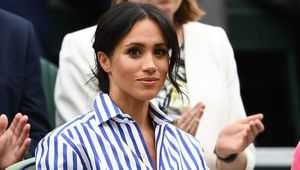 Meghan, Duchess of Sussex attends day twelve of the Wimbledon Lawn Tennis Championships at All England Lawn Tennis and Croquet Club on July 14, 2018 in London, England. (Photo by Clive Mason/Getty Images)