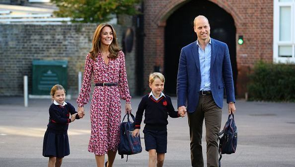 Princess Charlotte, with by her father, the Duke of Cambridge, and mother, the Duchess of Cambridge and Prince George, arriving for her first day of school at Thomas\'s Battersea in London on September 5, 2019 in London, England. (Photo by Aaron Chown - WPA Pool/Getty Images)