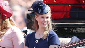 Lady Louise Windsor during Trooping The Colour on the Mall on June 9, 2018 in London, England. The annual ceremony involving over 1400 guardsmen and cavalry, is believed to have first been performed during the reign of King Charles II. The parade marks the official birthday of the Sovereign, even though the Queen\'s actual birthday is on April 21st. (Photo by Chris Jackson/Getty Images)