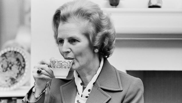 British Conservative Party politician and Leader of the Opposition Margaret Thatcher (1925 - 2013) having a cup of tea, UK, 20th January 1978