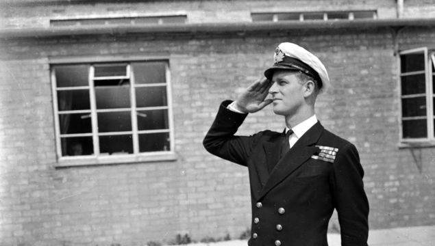 Louis Mountbatten, 1st Earl Mountbatten of Burma (1900 - 1979), with his nephew Prince Philip, Duke of Edinburgh, in Royal Marines uniforms at the regiment\'s barracks at Eastney, Hampshire, 27th October 1965