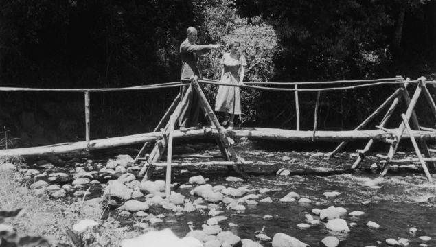 5th February 1952: Princess Elizabeth and the Duke of Edinburgh admiring the view from a bridge in the grounds of Sagana Lodge, their wedding present from the people of Kenya