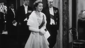 Queen Elizabeth II attends the opera in 1953.