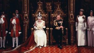 Queen Elizabeth II with Prince Philip Duke of Edinburgh at the state opening of British Parliament.