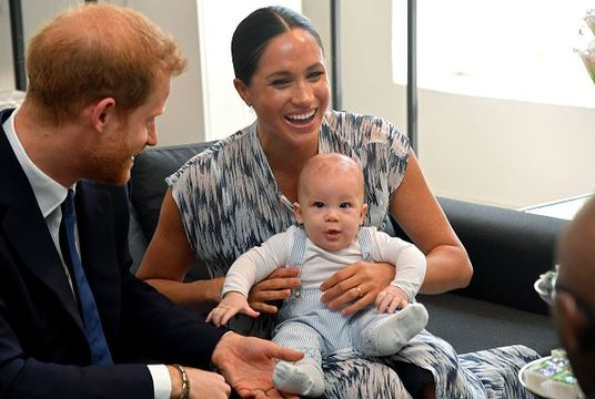Prince Harry, Duke of Sussex, Meghan, Duchess of Sussex and their baby son Archie Mountbatten-Windsor meet Archbishop Desmond Tutu and his daughter Thandeka Tutu-Gxashe at the Desmond & Leah Tutu Legacy Foundation during their royal tour of South Africa on September 25, 2019 in Cape Town, South Africa. (Photo by Toby Melville - Pool/Getty Images)