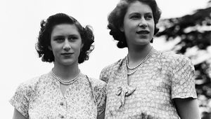 Princess Elizabeth and her sister Princess Margaret (1930 - 2002) at the Royal Lodge, Windsor, UK, 8th July 1946.