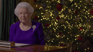 Queen Elizabeth II, giving the 2020 Christmas Day speech.