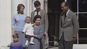 The Royal Family captured by British Pathe at Windsor.