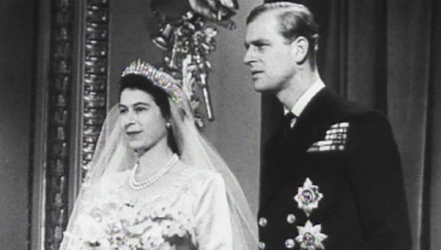 Princess Elizabeth and Prince Philip on their wedding day, Nov 20, 1947.