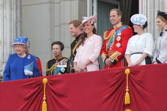 The royal family on the balcony at Buckingham Palace.