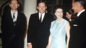 Queen Elizabeth and members of Apollo 11