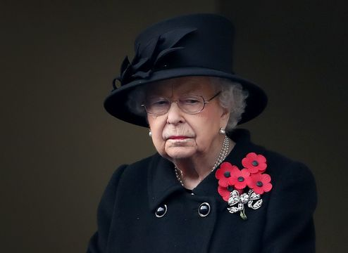 Queen Elizabeth II by the cenotaph in London, on Remembrance Day in 2020.