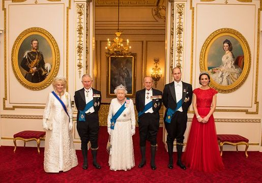 Camilla, Duchess of Cornwall, Prince Charles, Prince of Wales, Queen Elizabeth II, Prince Philip, Duke of Edinburgh, Prince William, Duke of Cambridge and Catherine, Duchess of Cambridge arrive for the annual evening reception for members of the Diplomatic Corps at Buckingham Palace on December 8, 2016 in London, England.