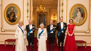 Camilla, Duchess of Cornwall, Prince Charles, Prince of Wales, Queen Elizabeth II, Prince Philip, Duke of Edinburgh, Prince William, Duke of Cambridge and Catherine, Duchess of Cambridge arrive for the annual evening reception for members of the Diplomatic Corps at Buckingham Palace on December 8, 2016 in London, England. (Photo by Dominic Lipinski-WPA Pool/Getty Images)