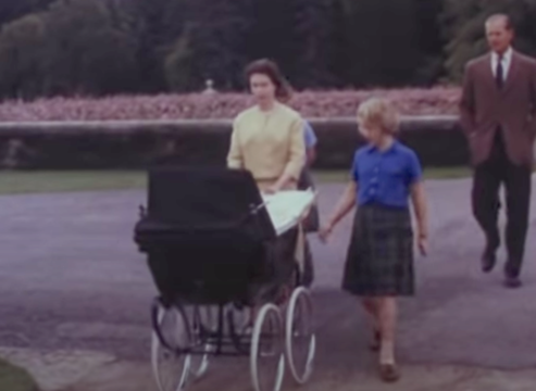 Princess Elizabeth arrives to Balmoral with baby Prince Andrew and family.