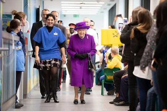Queen Elizabeth II opens the new premises of the Royal National ENT and Eastman Dental Hospital on February 19, 2020 in London, England. (Photo by Heathcliff O\'Malley - WPA Pool/Getty Images)