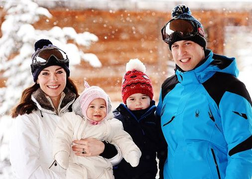 Catherine, Duchess of Cambridge and Prince William, Duke of Cambridge, with their children, Princess Charlotte and Prince George, enjoy a short private skiing break on March 3, 2016 in the French Alps, France. (Photo by John Stillwell - WPA Pool/Getty Images) (TERMS OF RELEASE - News editorial use only - it being acknowledged that news editorial use includes newspapers, newspaper supplements, editorial websites, books, broadcast news media and magazines, but not (by way of example) calendars or posters.)