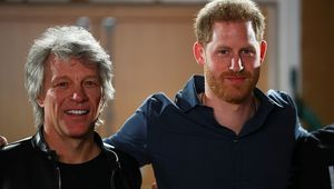 Prince Harry, Duke of Sussex meets with Jon Bon Jovi and members of the Invictus Games Choir at Abbey Road Studios, where a single has been recorded for the Invictus Games Foundation on February 28, 2020 in London, England. (Photo by Hannah McKay - WPA Pool / Gettyimages)
