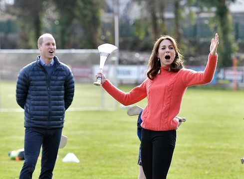 Prince William, Duke of Cambridge and Catherine, Duchess of Cambridge visit Salthill GAA club and participate in some hurling and gaelic football on the third day of their first official visit to Ireland on March 5, 2020 in Galway, Ireland. (Photo by Charles McQuillan/Getty Images)