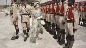 Queen Elizabeth II inspects men of the newly-renamed Queen\'s Own Nigeria Regiment, Royal West African Frontier Force, at Kaduna Airport, Nigeria, during her Commonwealth Tour, 2nd February 1956. (Photo by Fox Photos/Hulton Archive/Getty Images)