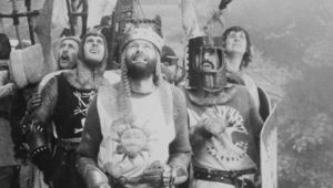 British comedians Eric Idle, John Cleese, Graham Chapman, Terry Jones and Michael Palin in a scene from \'Monthy Python and the Holy Grail\'.