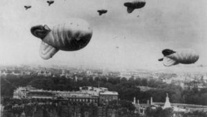 Barrage balloons over London during World War II.