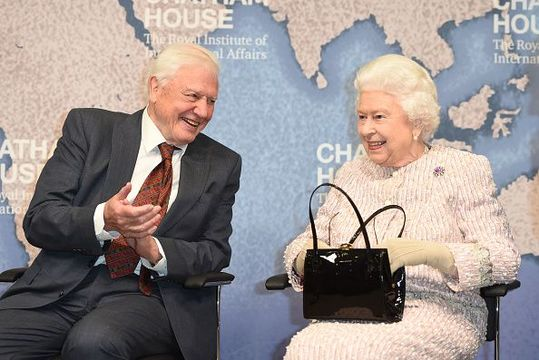 Queen Elizabeth II presents the Chatham House Prize 2019 to Sir David Attenborough at the Royal institute of International Affairs, Chatham House on November 20, 2019 in London Colney, England. (Photo by Eddie Mulholland - WPA Pool/Getty Images)
