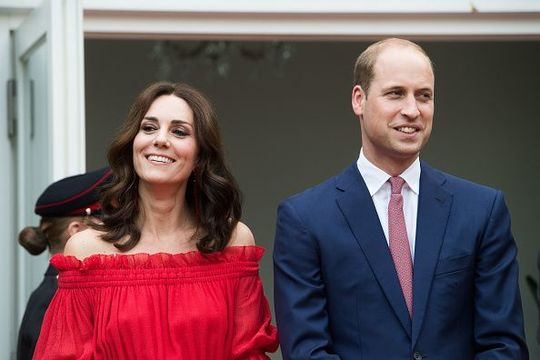 Prince William, Duke of Cambridge and Catherine, Duchess of Cambridge attend The Queen\'s Birthday Party at the British Ambassadorial Residence on the first day of their visit to Germany on July 19, 2017 in Berlin, Germany. The royal couple are on a three-day trip to Germany that includes visits to Berlin, Hamburg and Heidelberg. (Photo by Matthias Nareyek - Pool/Getty Images)