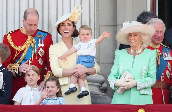 Prince William, Duke of Cambridge, Catherine, Duchess of Cambridge, Prince Louis of Cambridge, Prince George of Cambridge and Princess Charlotte of Cambridge during Trooping The Colour, the Queen\'s annual birthday parade, on June 8, 2019 in London, England. (Photo by Chris Jackson/Getty Images)