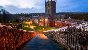 Steps down to St David\'s Cathedral, St David\'s, Pembrokeshire, Wales
