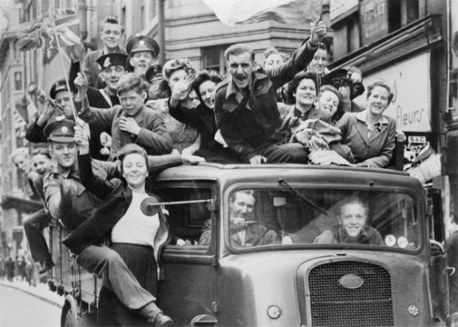 Celebrations in London, on VE Day, May 8, 1945.