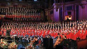 Welsh male voice choir in action.