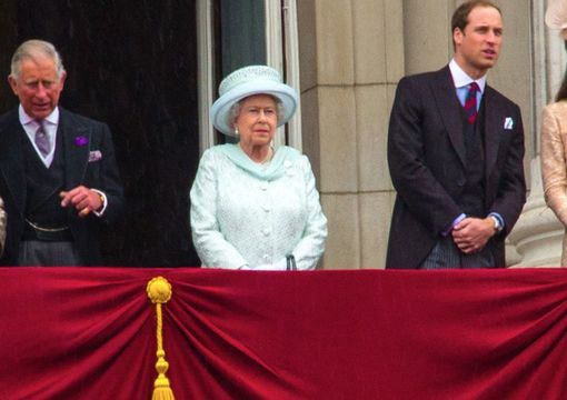 Queen Elizabeth with the Royal Family on the main balcony of Buckingham Palace in 2012.