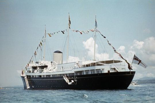 The Royal Yacht \'Britannia\' during Queen Elizabeth II \'s visit to Tonga, February 1977. (Photo by Serge Lemoine/Getty Images)