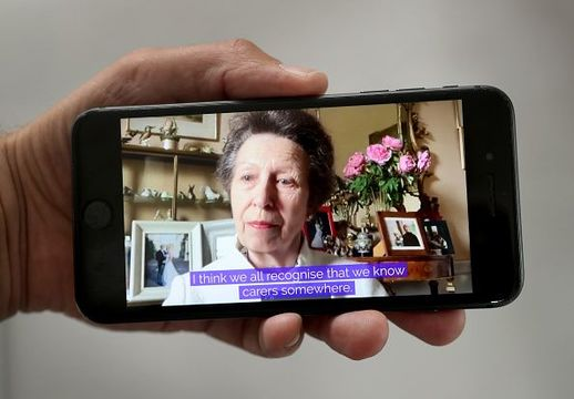 In this photo illustration, Princess Anne, Princess Royal and Queen Elizabeth II speak to carers via video call to mark Carers Week 2020 on June 11, 2020 in London, England. Princess Anne, Princess Royal founded Carers Trust, formally known as The Princess Royal Trust, to recognise and support carers across the UK. (Photo by Chris Jackson/Getty Images)