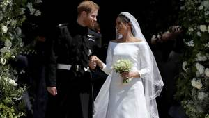Prince Harry, Duke of Sussex and The Duchess of Sussex on their wedding day at St George\'s Chapel at Windsor Castle on May 19, 2018.