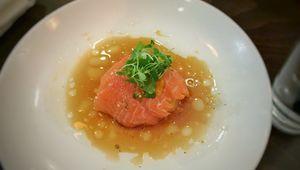 Delicious orange Scottish salmon.