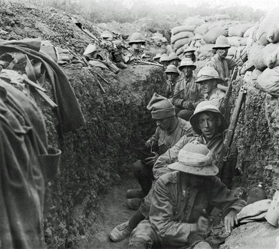 Soldiers in the trenches on the southern section of Gallipoli Peninsula during World War I. The men belong to the Royal Irish Fusiliers.