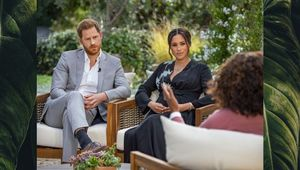 Harry, the Duke of Sussex, and Meghan Markle speaking with Oprah Winfrey.