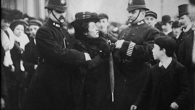 A suffragette being arrested in London.