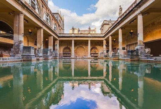The Roman Baths, in Bath, Somerset.