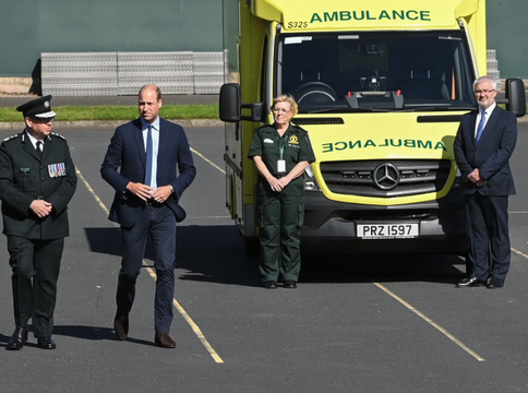 Prince William visits with the PSNI and emergency services in Belfast.