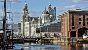 Liverpool Pier Head, from Albert Dock, in Liverpool city.
