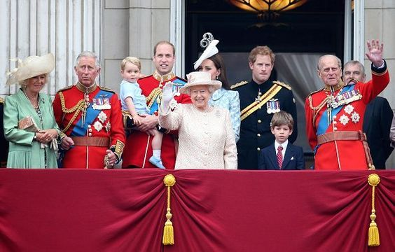 The Royal Family, standing on the balcony at Buckingham Palace, London.